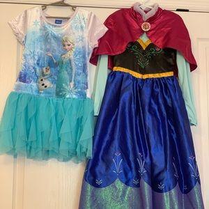 Adorable Elsa and Anna dresses.